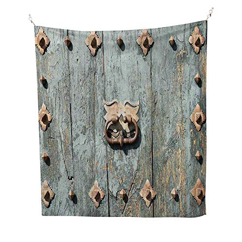 Rusticoutdoor tapestryEuropean Cathedral with Rusty Old Door Knocker Gothic Medieval Times Spanish Style 70W x 84L inch Ceiling tapestryTurquoise