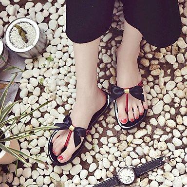 YFF Sandales femmes Printemps Été PU confort décontracté Bowknot Robe Talon plat,rouge,US8 / EU39 / UK6 / CN39