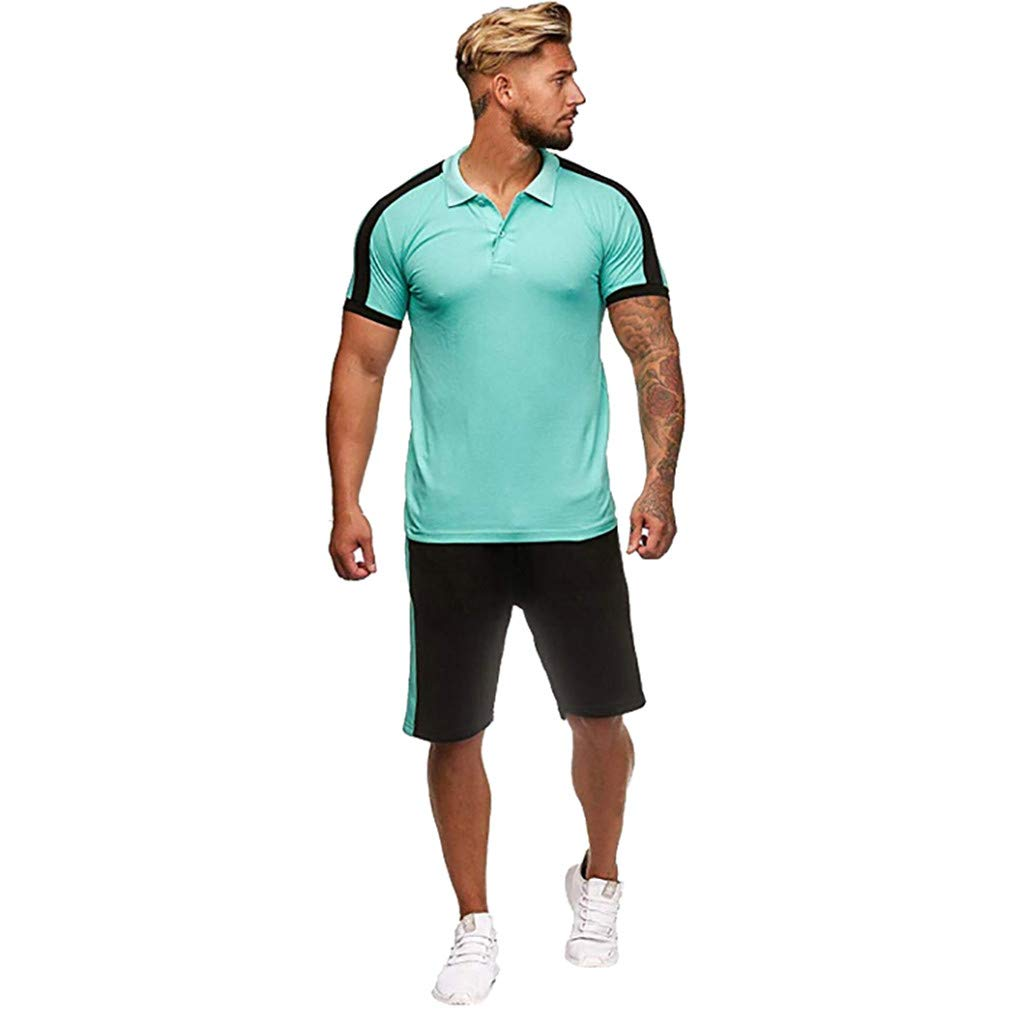 Men's Summer Tracksuit Set Casual Stripe Button Short Sleeve Tops and Shorts Runing Athletic Sports Clothes Sets Size S-2XL (XXL, Green)