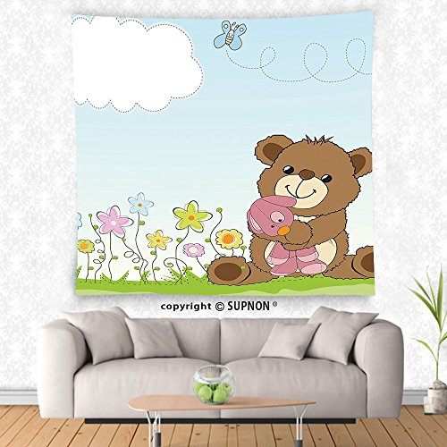 VROSELV custom tapestry Kids Tapestry Cartoon Style Cute Teddy Bear with Toy in Meadow Swirled Flowers Butterfly and Cloud Wall Hanging for Bedroom Living Room Dorm (Tiffany Style Teddy Bear)