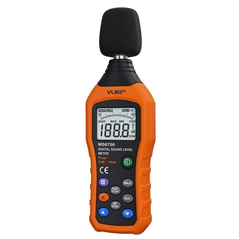 VLIKE Noise Sound Level Meter, Digital Decibel Meter with LCD, Audio Measurement 30 dB to 130 dB, DB Meter with A and C Frequency Weighting for Sound Level Testing by VLIKE