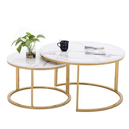 Marvelous Amazon Com Round Coffee Table Set Marble Counter Tops Evergreenethics Interior Chair Design Evergreenethicsorg
