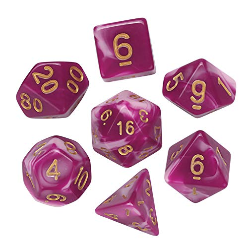 (Liping 7Pcs Game Cute and Interesting Dungeons & Dragons Polyhedral D4-D20 Multi Sided Acrylic Dice Stress Reliever Toy Gift Toys (L))