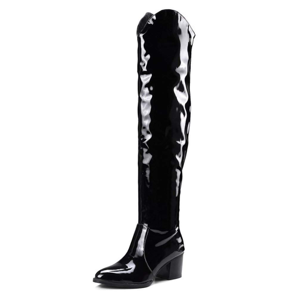 f1204f23d70 Amazon.com | Shoe'N Tale Women's Low Block Heel Over The Knee High Pointy  Toe Patent Leather Boots | Boots