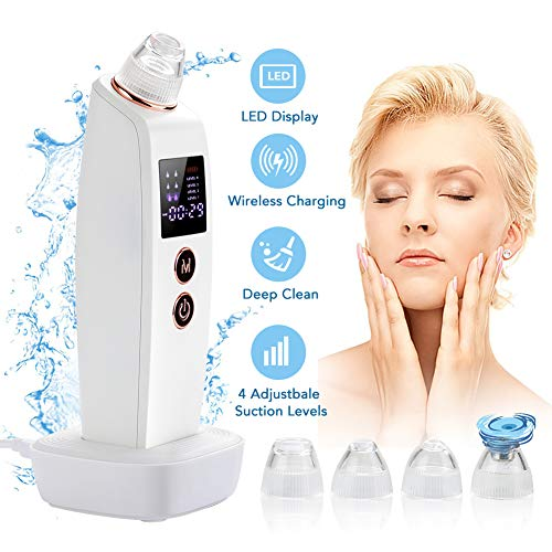 (Blackhead Remover Vacuum, Facial Pore Cleaner Wireless Charging Electric Acne Comedone Extractor Kit with LCD Display 4 Suction Heads and 4 Levels for Women and Men )