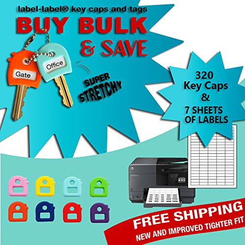 KEY Caps Tags-buy in Bulk & Save - Stretchy-one Size Fits Most Keys - Multicolor - Includes Sheets of Labels (320 key caps + seven sheet of (Buy Keychains In Bulk)