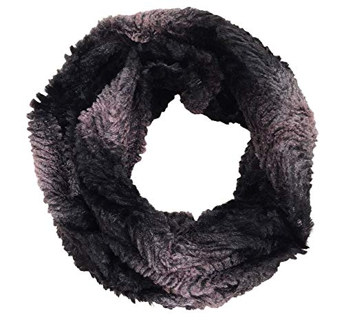 Best Black Two Tone Racoon Fur Infinity Scarf Scarves Minky Soft Distressed Fashion Lightweight Large Winter Colorful Cute Fun Xmas Stocking Stuffer Gift Idea for Women Ladies Teen Girl (Style 5) ()