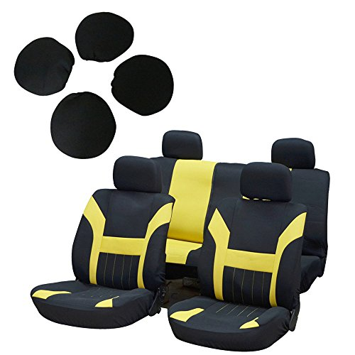 Chevelle Rear Seat Cover - SCITOO Universal Black/Yellow Car Seat Cover w/Headrest 8Pcs Breathable Polyester Retractable