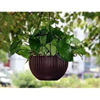 Tex Homz Hanging Baskets Rattan Waven Flower Pot Plant Pot with Hanging Chain for Houseplants Garden Balcony Decoration in Multicolor