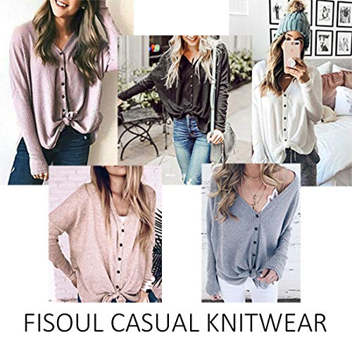 FISOUL Womens Blouse Long Sleeve V Neck Button Down T Shirts Tie Front Knot Casual Tops by FISOUL (Image #2)
