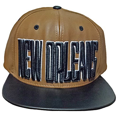 NEW ORLEANS Baseball Cap LEATHER Hat Black and Brown Embroidered