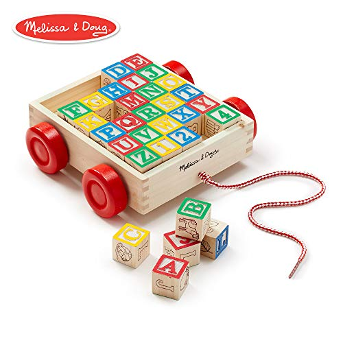 Wood Letter Cube - Melissa & Doug Classic ABC Wooden Block Cart (Educational Toy With 30 Solid Wood Blocks)