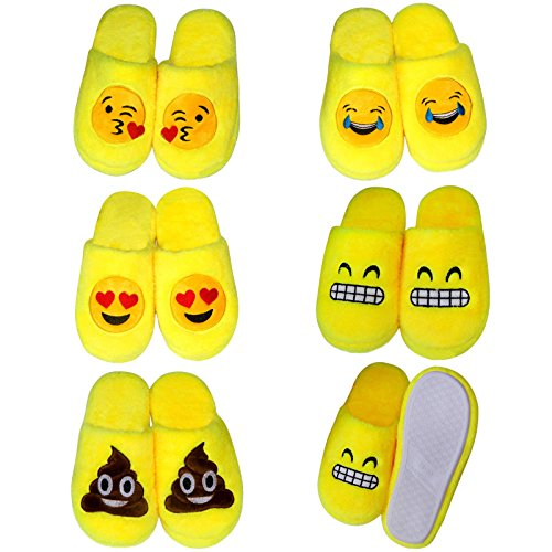 Lltrader Emoji Pantoufles Pour Les Filles Les Femmes Enfants Hommes Chaud Douillet Doux Rembourré Ménage Hiver Chaussures Merde