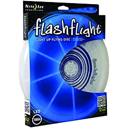 Nite Ize Flashflight LED Light Up Flying Disc, Glow in the Dark for Night Games, 185g, Blue