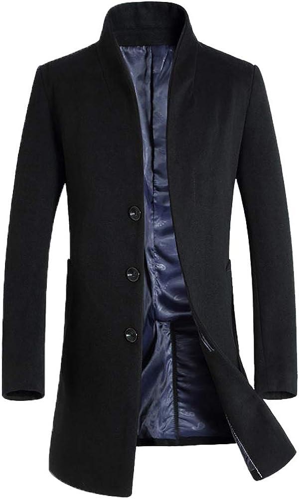 FTCayanz Hombre Abrigo Largo Chaqueta Invierno de Lana Cálido Parka Elegante Jacket Outerwear