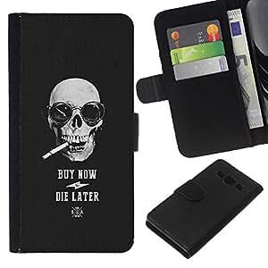 iBinBang / Flip Funda de Cuero Case Cover - El humo del cigarrillo fresco Comprar Cráneo Negro - Samsung Galaxy A3