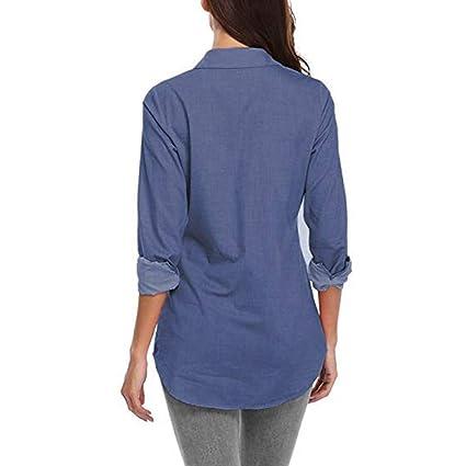 ... Top de Manga Larga Otoño e Invierno Camisas Botón Denim Sudadera con Capucha Blusa Tapa de Trompeta Top Camisetas Mujer: Amazon.es: Ropa y accesorios