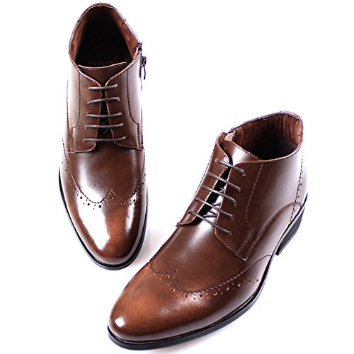 Nouveau Mooda Cuir Hommes Formel Wing Tip Robe Casual Cheville Zip Bottes Chaussures Marron