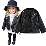 Baby Jackets,Deloito Kid Baby Girls Boys PU Leather Short Jacket Autumn Winter Baby Outwear Toddler Long Sleeve Cool Coats Clothes for 1-5 Years Old Kids (Black, 100(3T))