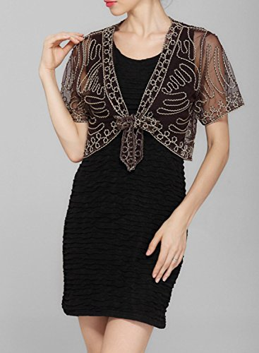 Azbro Mujer Encantador Cárdigan Shrug Corbata Frontal negro