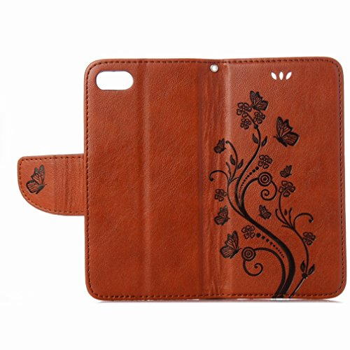Yiizy Apple IPhone 7 Hülle, Blumen Erleichterung Entwurf PU Ledertasche Klappe Beutel Tasche Leder Haut Schale Skin Schutzhülle Cover Case Stehen Kartenhalter Stil Bumper Schutz (Braun)