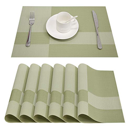 Top Finel Placemats,Vinyl Table Mats Set of 6,Heat Resistant Place Mats for Dining Table Washable Anti-Skid,DarkGreen