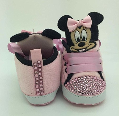 Personalizado Bebé niña Minnie Mouse para cuna cochecito Crystal Bling Rhinestone Diamantes de Campanilla Bling tamaño 6/9Meses. Primera Walker.