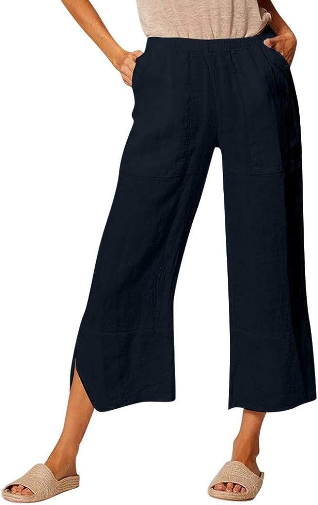 ITISME Pantaloni Donna Taglie Forti Tinta Unita Casual Pantaloni Cotone e Lino Stampa Sciolto Accogliente Pantaloni Donna Largh