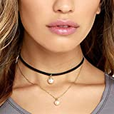 Best Goodtrade8 The Halloween Masks - Gotd Women Punk Flannel Pearl Double Chain Necklace Review