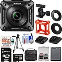 Nikon KeyMission 360 Wi-Fi Shock & Waterproof 4K Video Action Camera Camcorder with 32GB Card + Battery + Case + Tripod + Kit