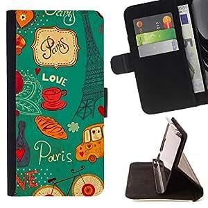 For Samsung Galaxy S6 Active G890A Case , Eifel Torre Francesa Francia París- la tarjeta de Crédito Slots PU Funda de cuero Monedero caso cubierta de piel