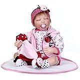 Pinky Handmade 22 Inch 55cm Soft Body Silicone Lifelike Reborn Baby Dolls Realistic Looking Newborn Baby Girl Dolls Cute Xmas and Birthday Gift