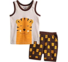 abadc71d 12M-7T 100% Cotton Kids Boys Summer Sleeveless Pajama Set Animal