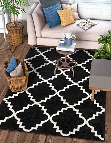 Harbor Trellis Black Quatrefoil Geometric Modern Casual Area Rug 5×7 5 3 x 7 3 Easy to Clean Stain Fade Resistant Shed Free Contemporary Traditional Moroccan Lattice Soft Living Dining Room Rug