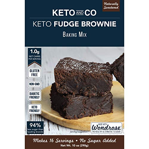 (Keto and Co Fudge Brownie Mix | All Natural, Naturally Sweetened, Gluten Free, Diabetic Friendly | Low Carb, Just 1 Net Carb Per Serving | No Added Sugar | Makes 16 Brownies)