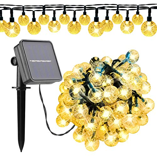 LED Solar String Lights Outdoor 100 Led 39FT Crystal Globe Lights with 8 Lighting Modes, Waterproof Solar Powered Patio Lights for Garden Yard Christmas Halloween Wedding Party Decor (Warm White)