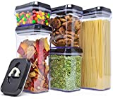 : Royal Air-Tight Food Storage Container Set - 5-Piece Set - Durable Plastic - BPA Free - Clear Plastic with Black Lids