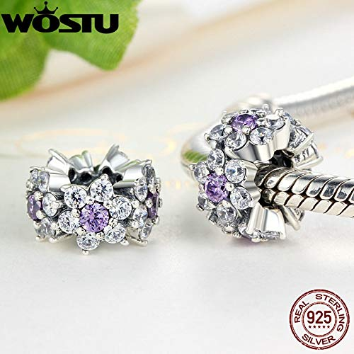 Calvas New Arrival 100/% 925 Sterling Silver Forget Me Not Spacer Charm Beads Fit Original WOST Bracelet Jewelry ZBBS286