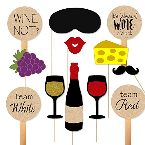 - Wine Tasting Party Props for Photobooth Cheese Grapes Paddles for Wine Themed Party Photos