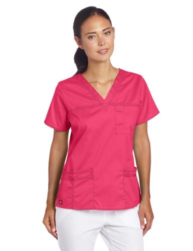 Dickies Women's Plus Size GenFlex Junior-Fit V-Neck Scrub Shirt, Hot Pink, XXX-Large
