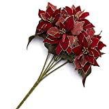 Factory Direct Craft Red Velvet Artificial Poinsettia Bushes With Gold Glitter Accents - 2 Bushes