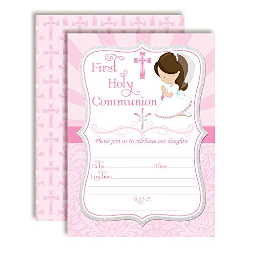 - First Holy Communion Religious Party Invitations for Girls, 20 5