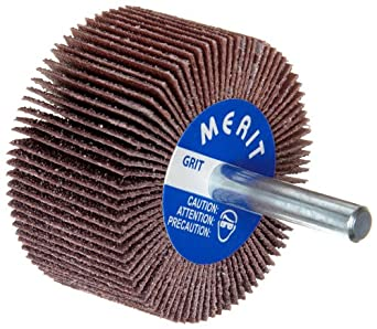 "Merit High Performance Mandrel-Mounted Mini Grind-O-Flex Abrasive Flap Wheel, Round Shank, Ceramic Aluminum Oxide, 1"" Dia., 5/8"" Face Width, Grit 40, 30000 Max RPM (Pack of 10)"