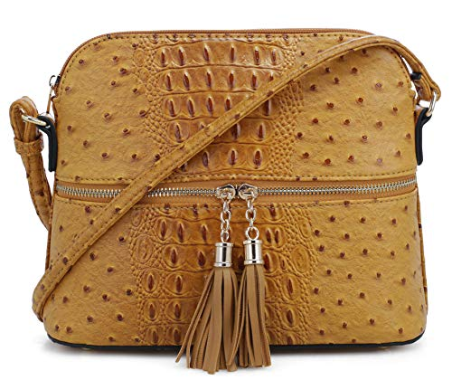 SG SUGU Crocodile Pattern Lightweight Medium Dome Crossbody Bag with Tassel | Mustard
