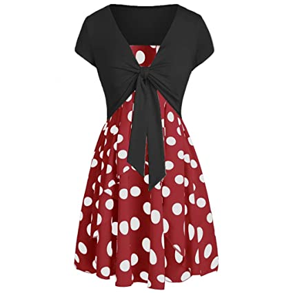 faf90ef9a9d Amazon.com  LLYWEY Cover up Vintage Dress Bow Knot Print Women Short Sleeve  Bow Knot Bandage Top Mini Dress Suits 2-Piece (XX-Large