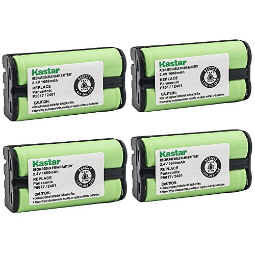 Kastar Cordless Battery (4 Pack), Ni-MH 2.4V 1600mAh, Replacement for AT&T 2455 2440 2430 2402 2401 2400 Cordless Telephone Battery and Panasonic HHR-P546A, Type 23 ()