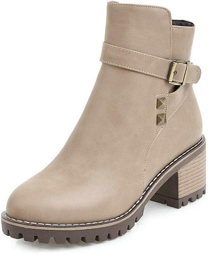 IDIFU Womens Warm Round Toe Zip up Low Block Heels Jeans Over Knee High Boots