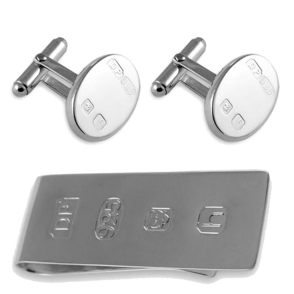 純銀製の厚手の機能特徴ジェームズボンドのお金クリップボックスセットカフスボタン B074S3RTV1