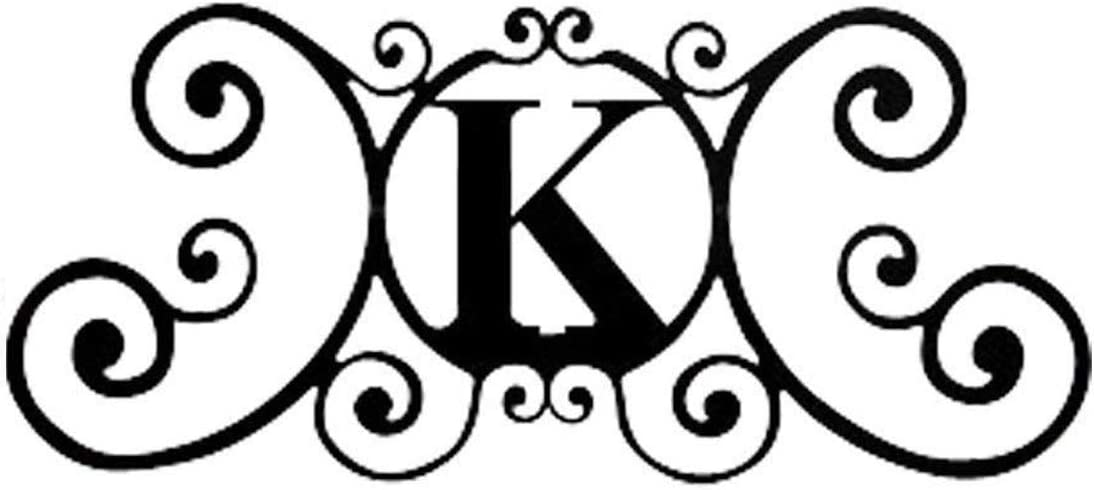 24 Inch House Plaque Letter - Wrought Iron Metal Scrolled Monogram Initial Letter Home Door Wall Hanging Art Decor Family Name Last Name Letter Sign (K, 24 x 11 inches,Thick 0.078 inch (2mm))