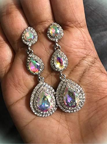 "2.25"" Long Silver Clear Aurora Borealis AB Austrian Crystal Pageant Earrings For Women Girls"
